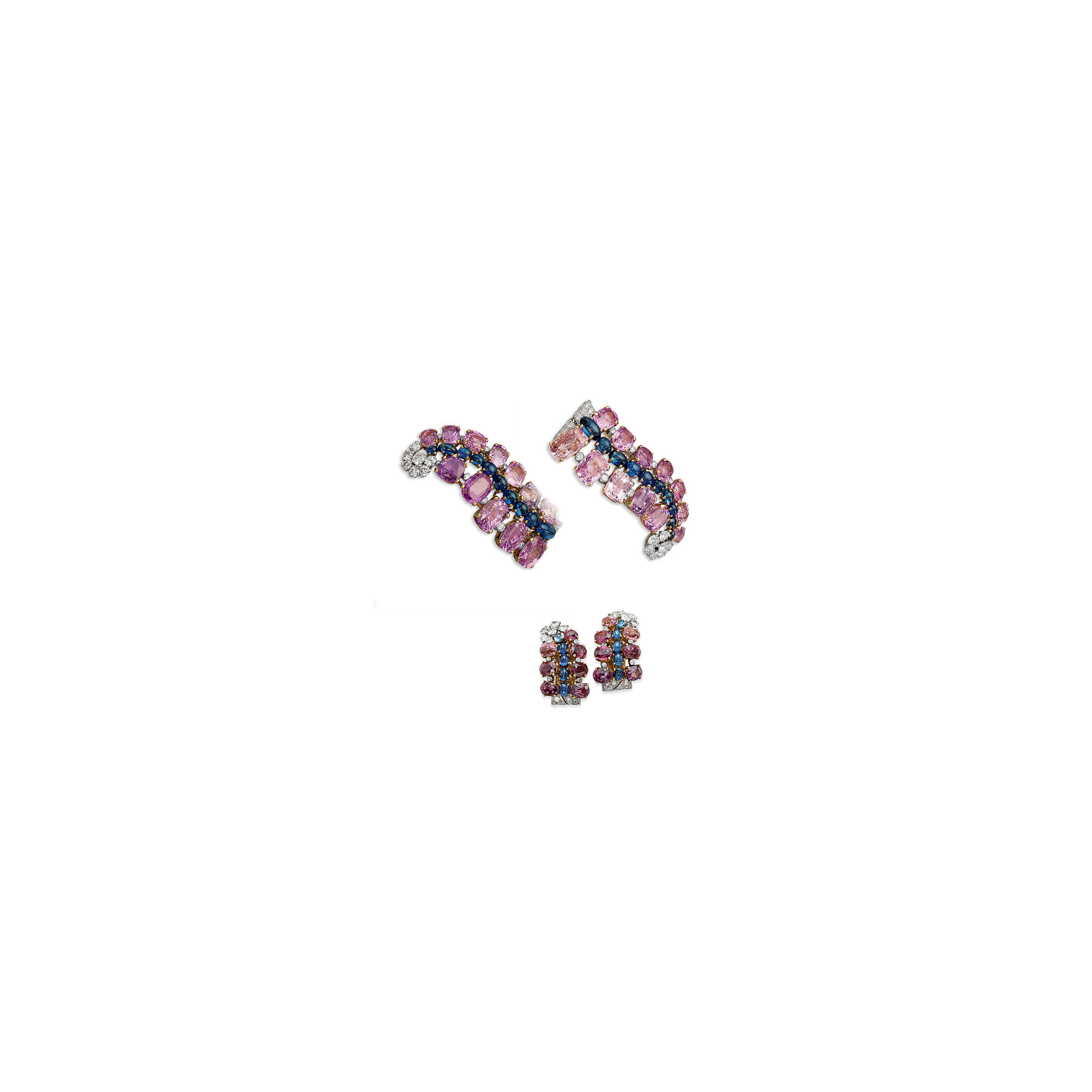 A PAIR OF SAPPHIRE, PINK SAPPHIRE AND DIAMOND BROOCHES, BY CARTIER, AND A PAIR OF EAR CLIPS