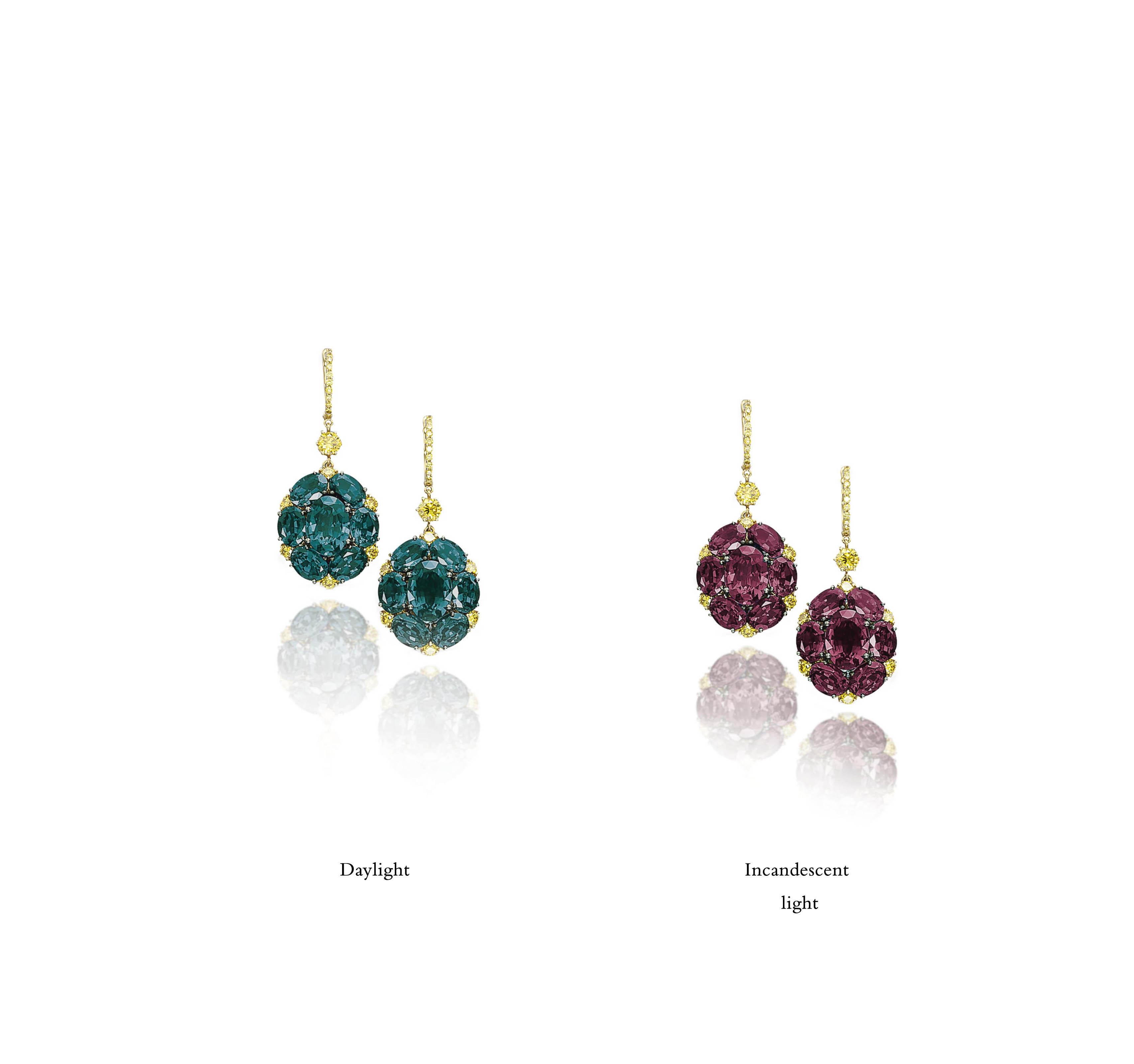 A PAIR OF ALEXANDRITE AND COLOURED DIAMOND EARRINGS