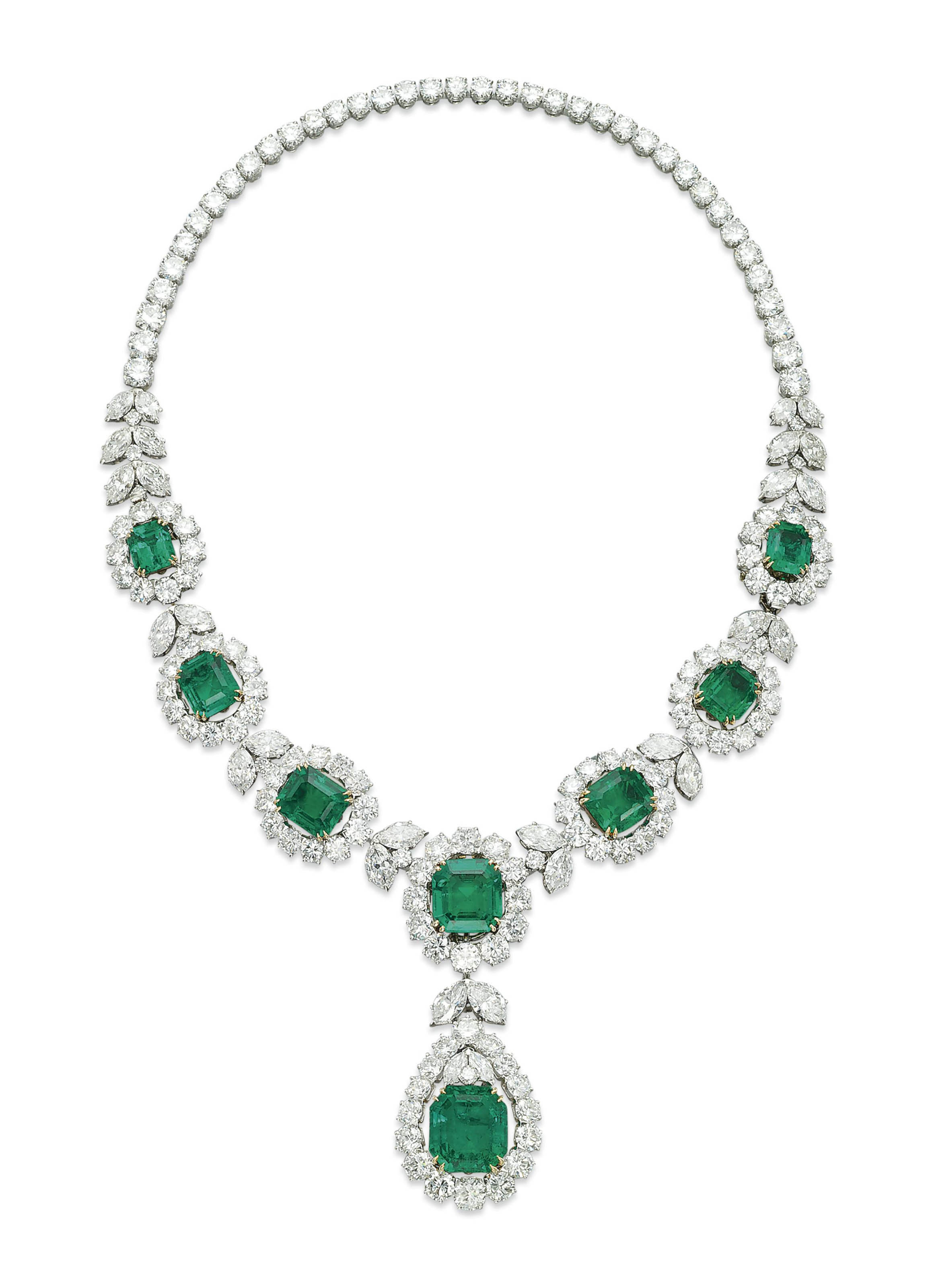 A FINE EMERALD AND DIAMOND NECKLACE, BY VAN CLEEF & ARPELS