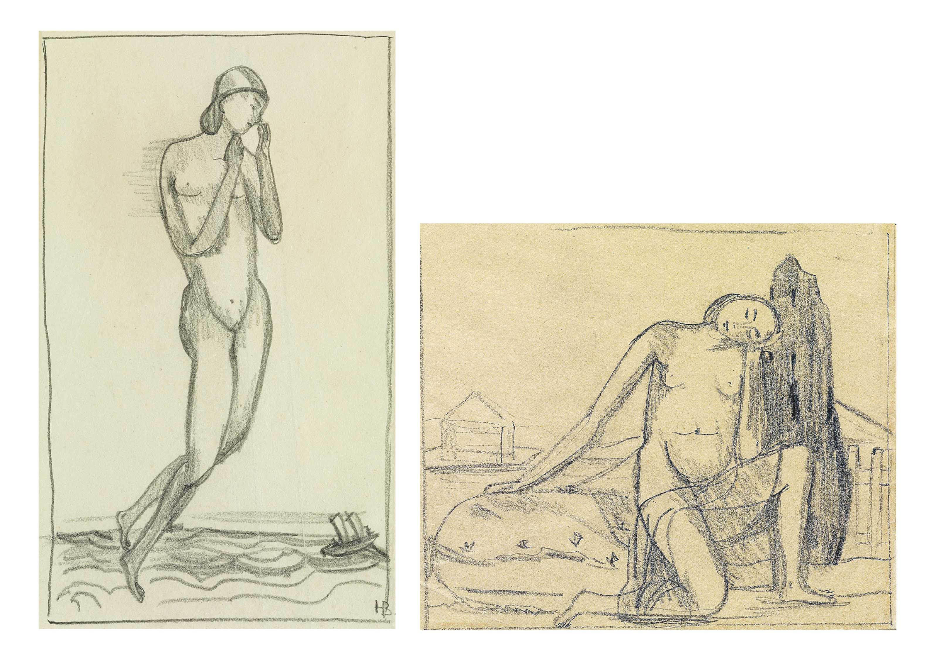 Sammelnummer von zwei Werken: Schwebende über Meer mit Schiff, 1910/11  Kniender Frauenakt mit aufgesetztem Kopf vor Garten, 1910/11