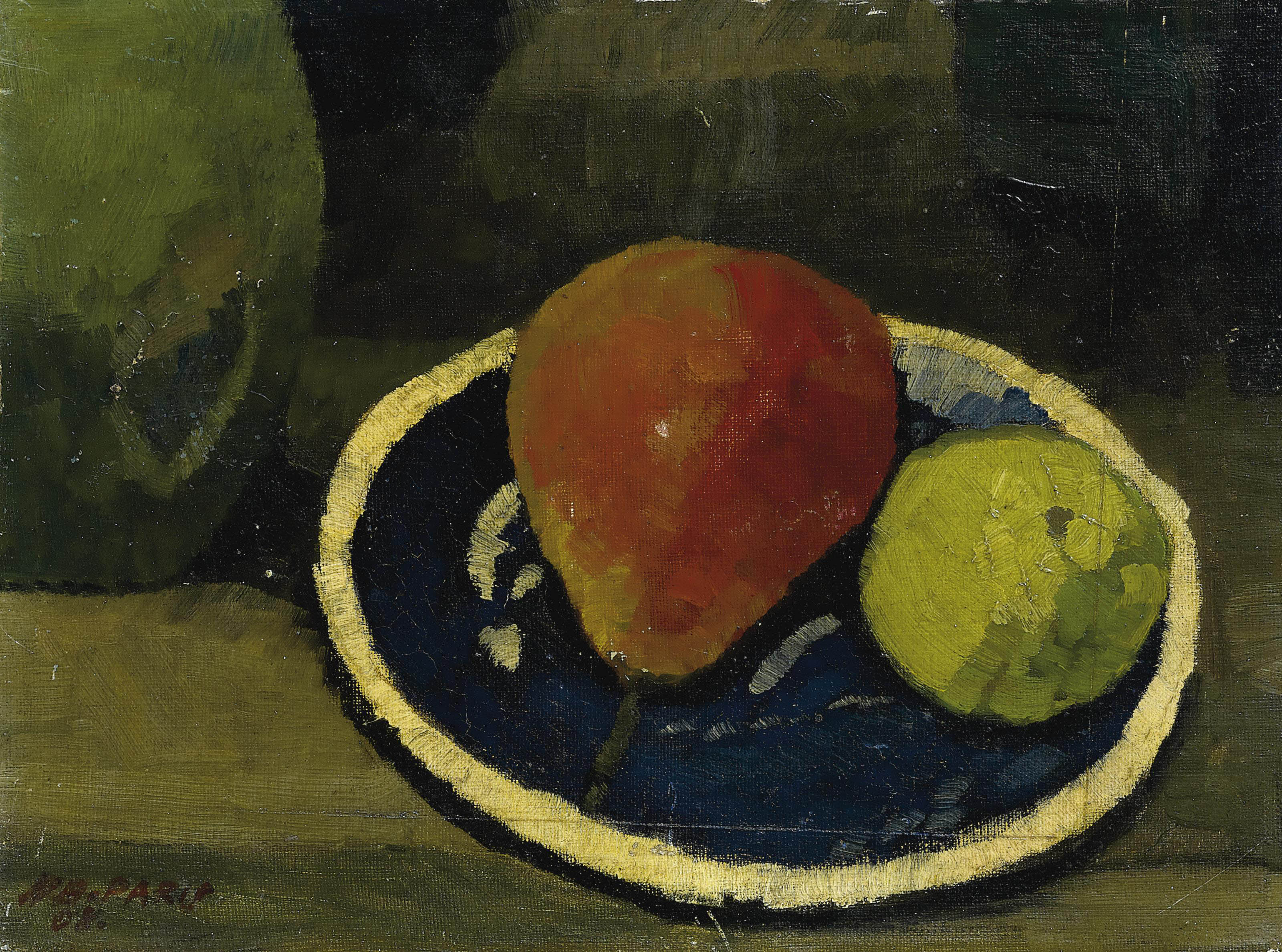Birne und Apfel in blauer Schale, 1908