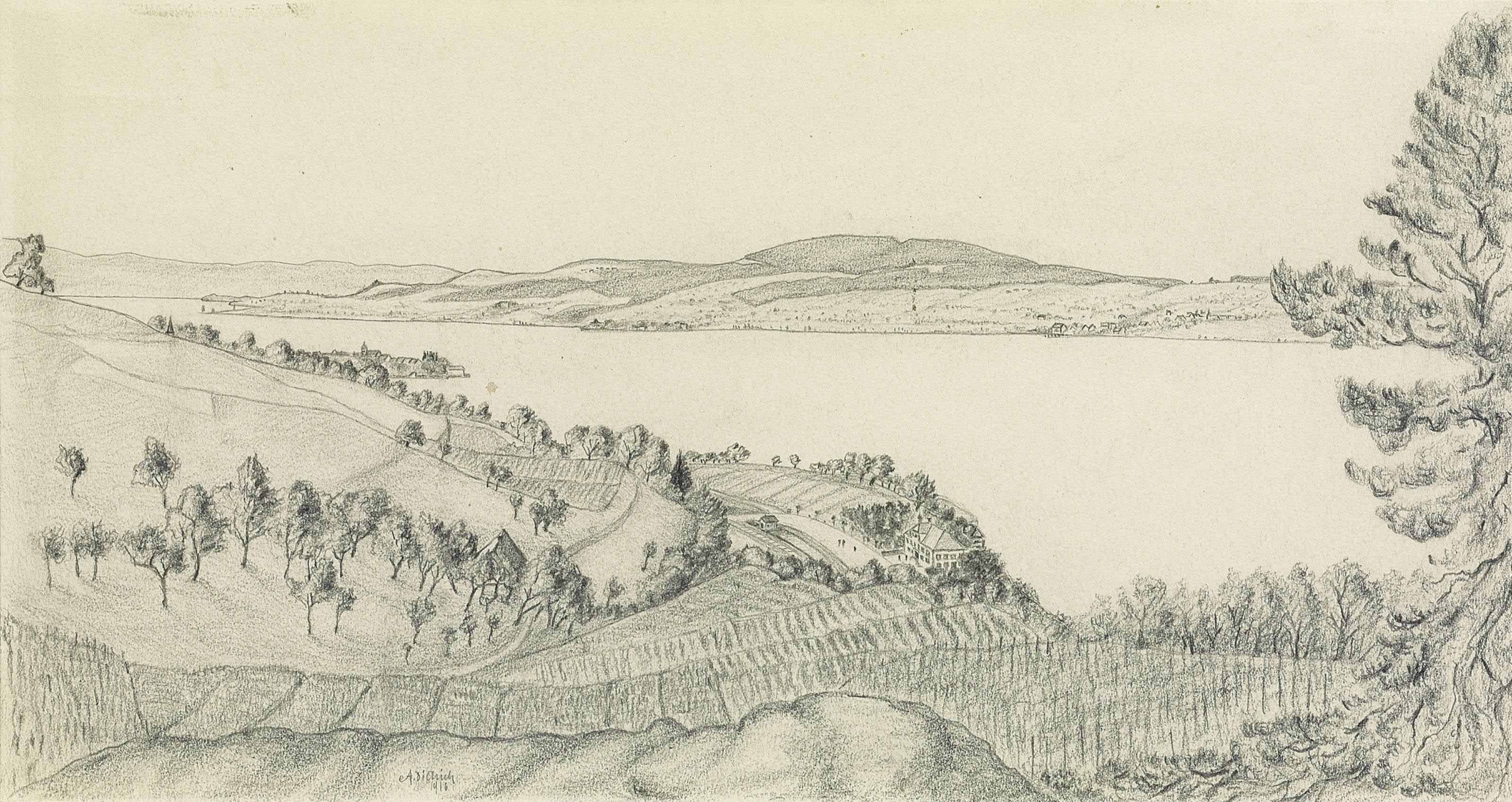 Blick auf Jakobstal und Steckborn am Untersee, 1916