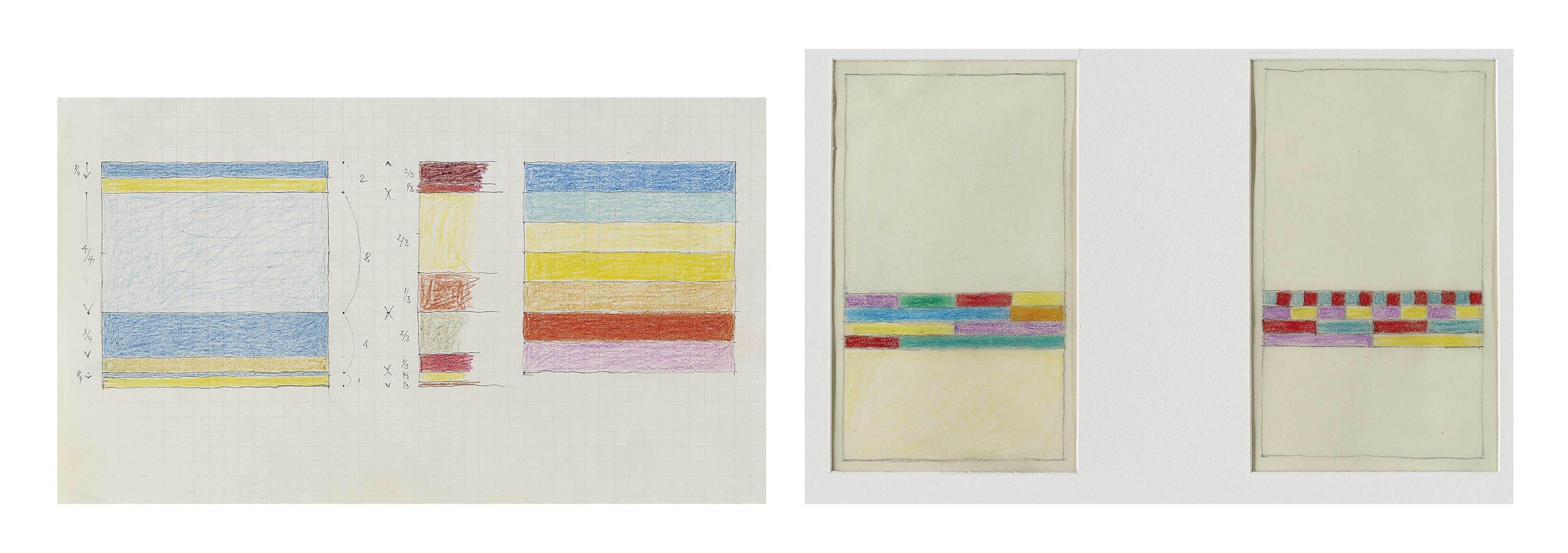 Sammelnummer von zwei Werken: Blatt mit zwei Farbstudien, 1965  Blatt mit zwei Farbstudien, 1970