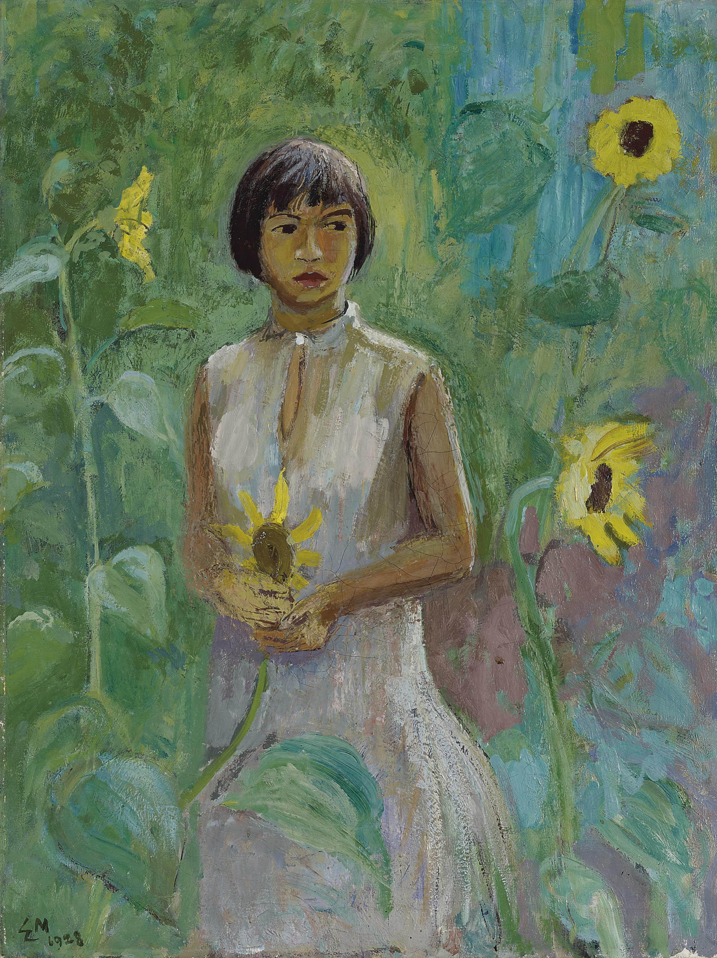 Mädchen in Sonnenblumen, 1928
