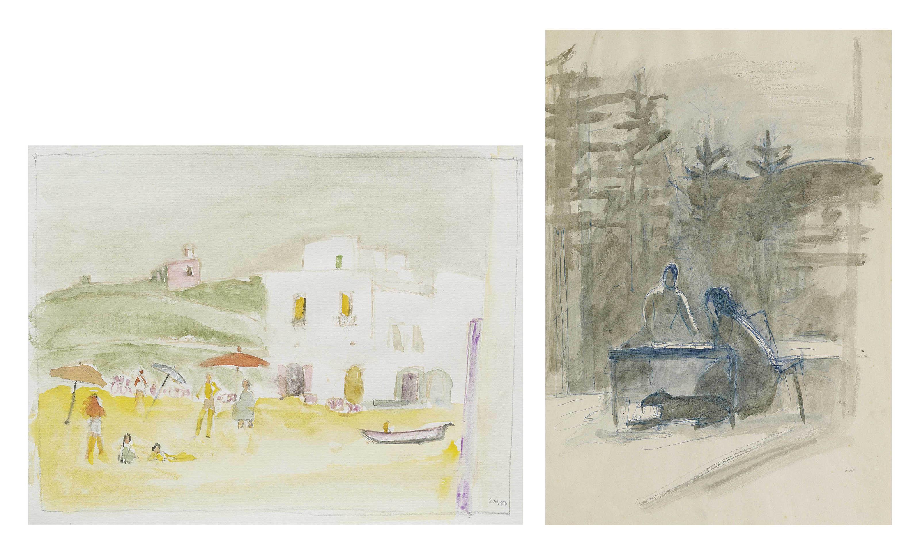 Sammelnummer von zwei Werken: Forio, Ischia, 1956  Auf der Terrasse (rückseitig: Frau auf Bank)