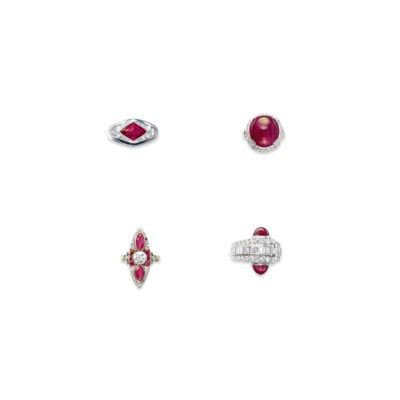 A GROUP OF FOUR RUBY AND DIAMO