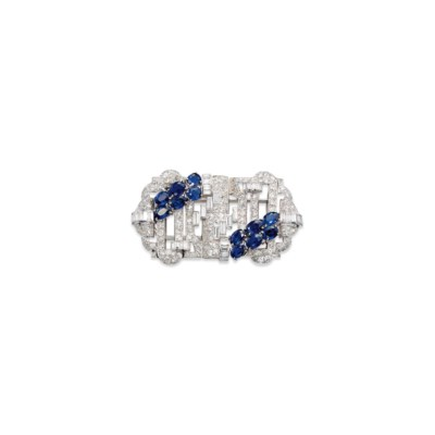 A SAPPHIRE AND DIAMOND DOUBLE-