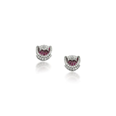 A PAIR OF RUBY AND DIAMOND CLI