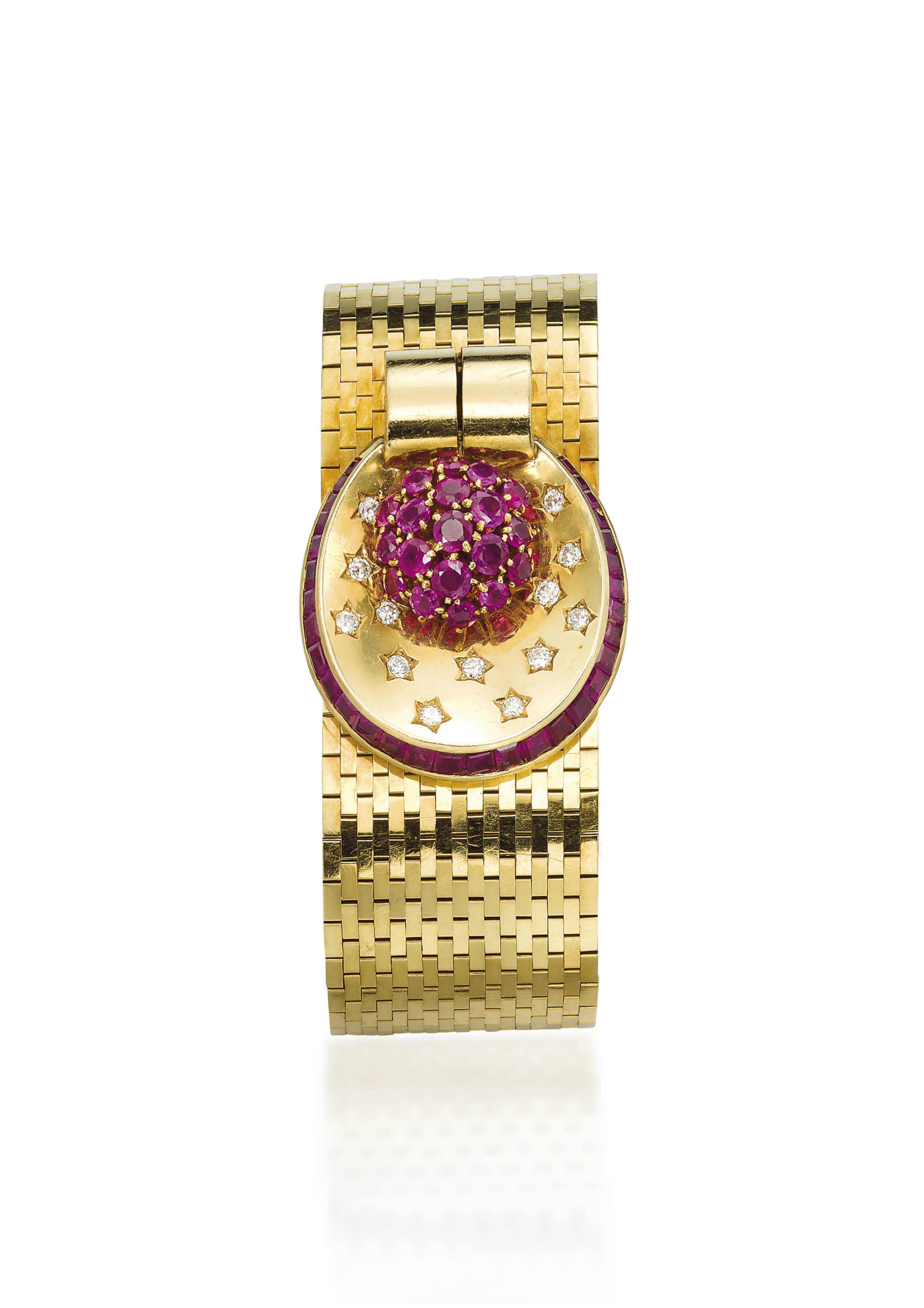 A RETRO RUBY, DIAMOND AND GOLD