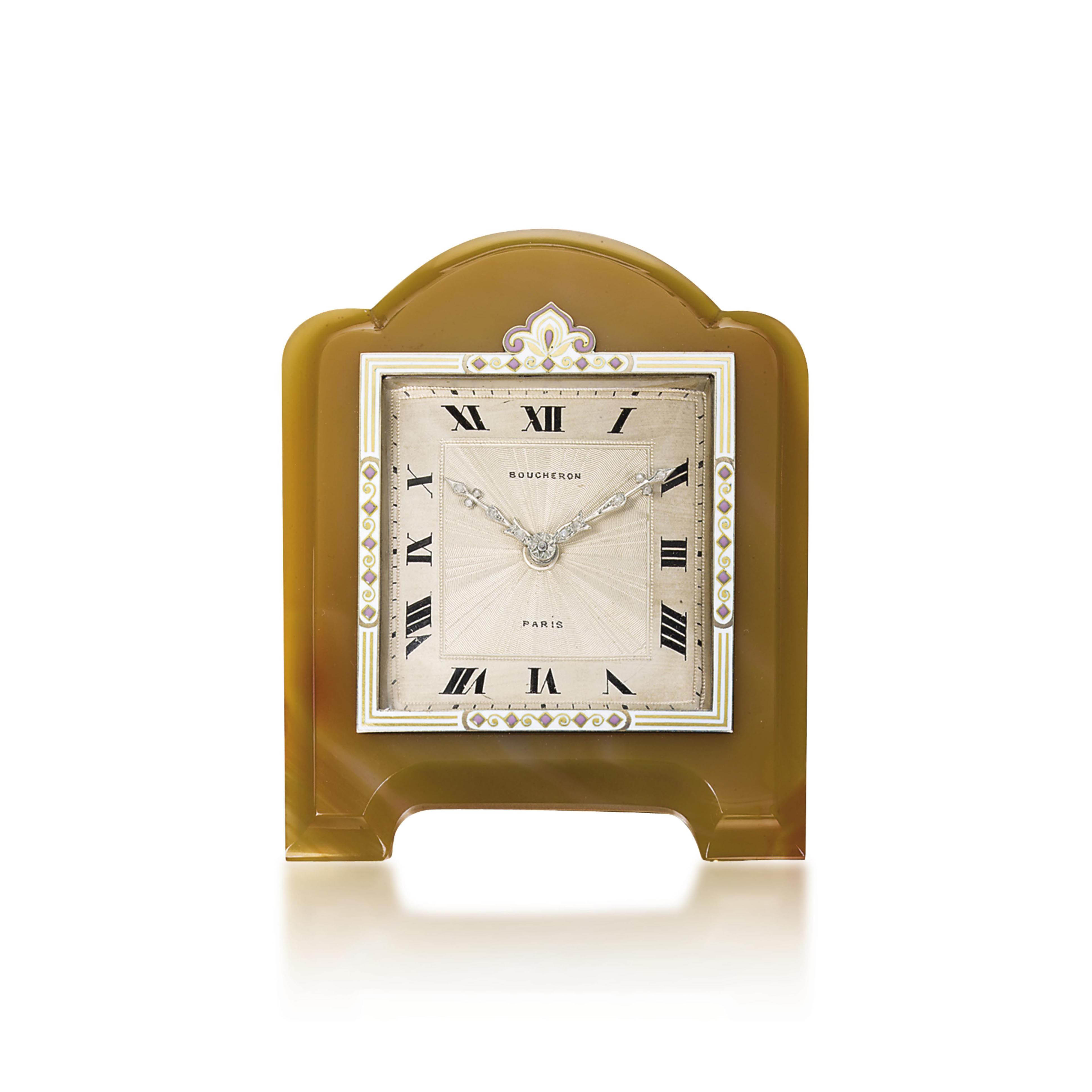 AN AGATE AND ENAMEL DESK CLOCK