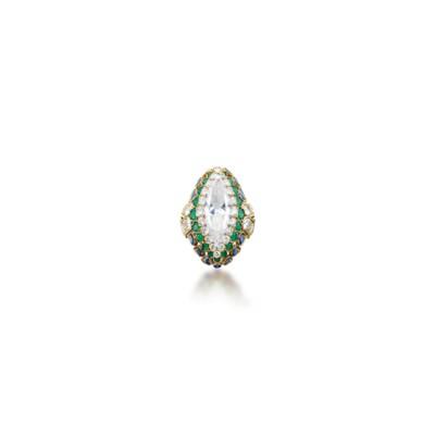 A DIAMOND, EMERALD AND SAPPHIR