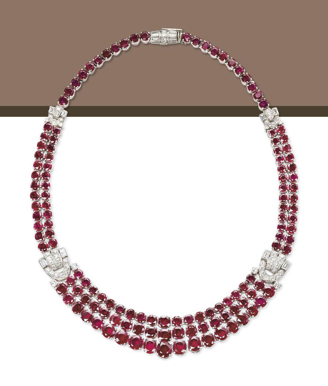 A RUBY AND DIAMOND NECKLACE, BY GAZDAR