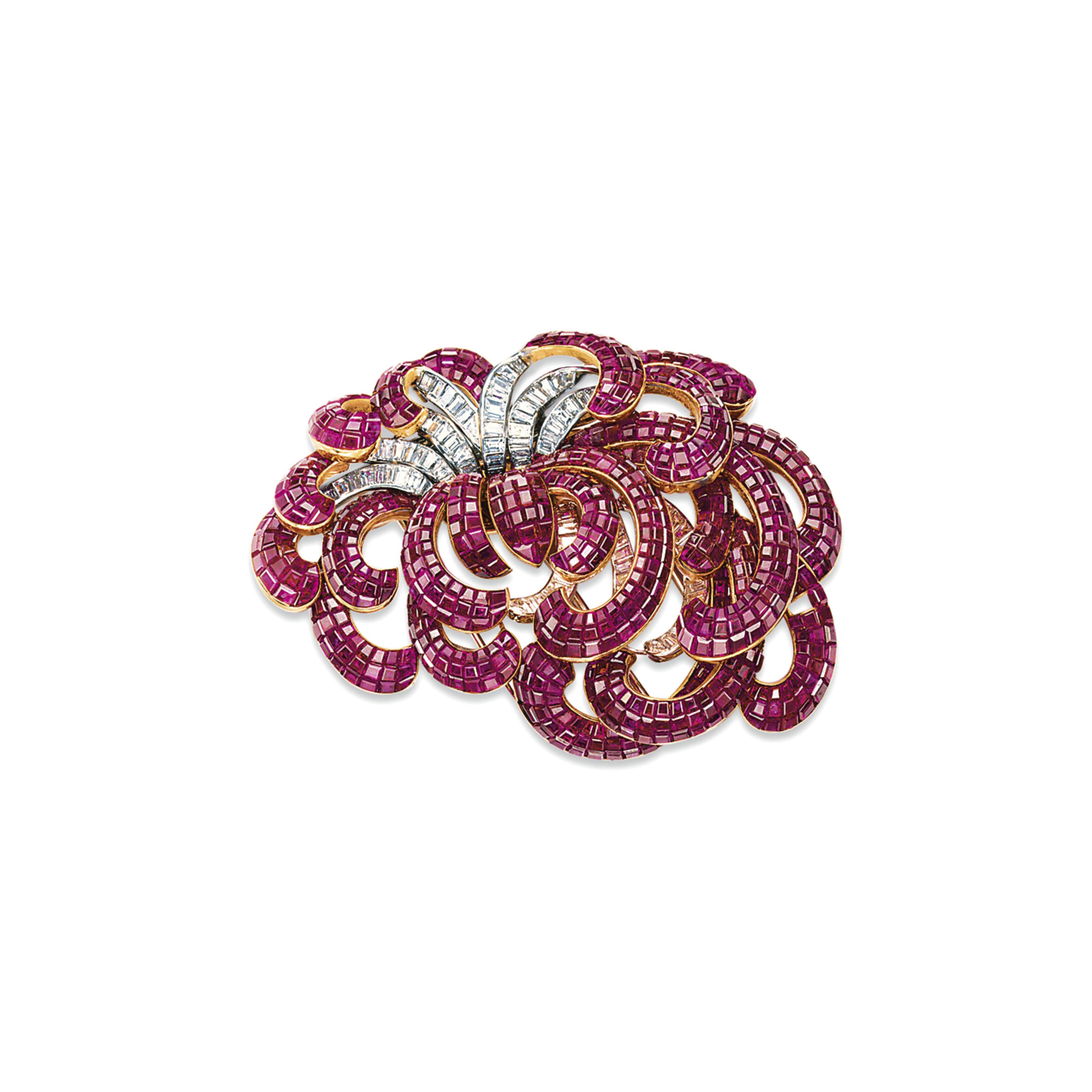 A SPLENDID 'MYSTERY-SET' RUBY AND DIAMOND BROOCH, BY VAN CLEEF & ARPELS