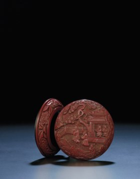 AN EXTREMELY RARE EARLY MING CARVED CINNABAR LACQUER CIRCULA