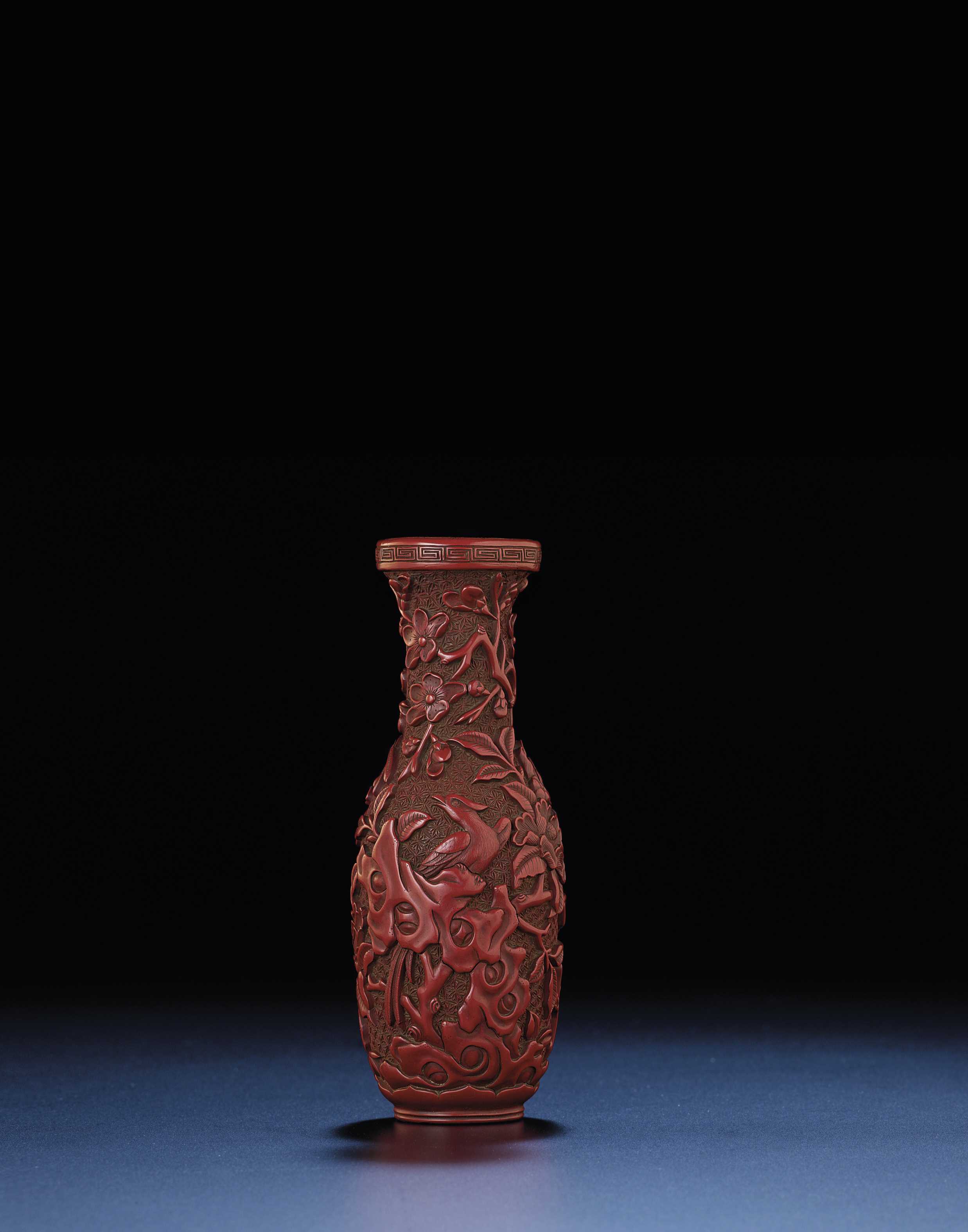 A Very Rare Ming Carved Cinnabar Lacquer Vase Ming