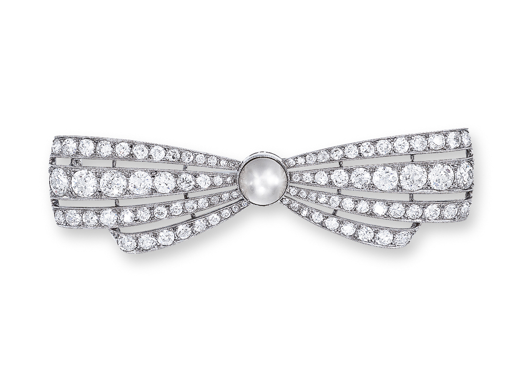 A DIAMOND AND PEARL BROOCH, BY BOUCHERON