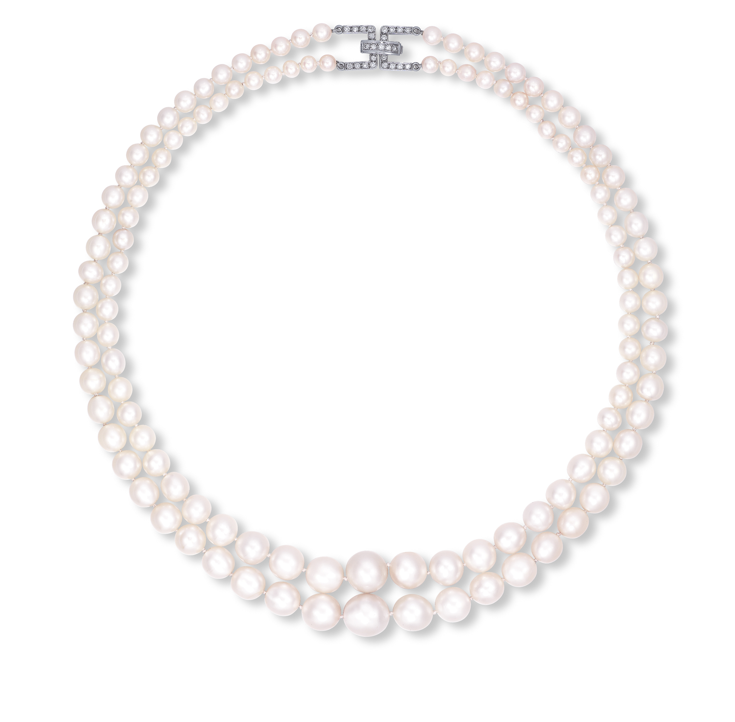 A VERY RARE TWO-STRAND NATURAL PEARL AND DIAMOND NECKLACE