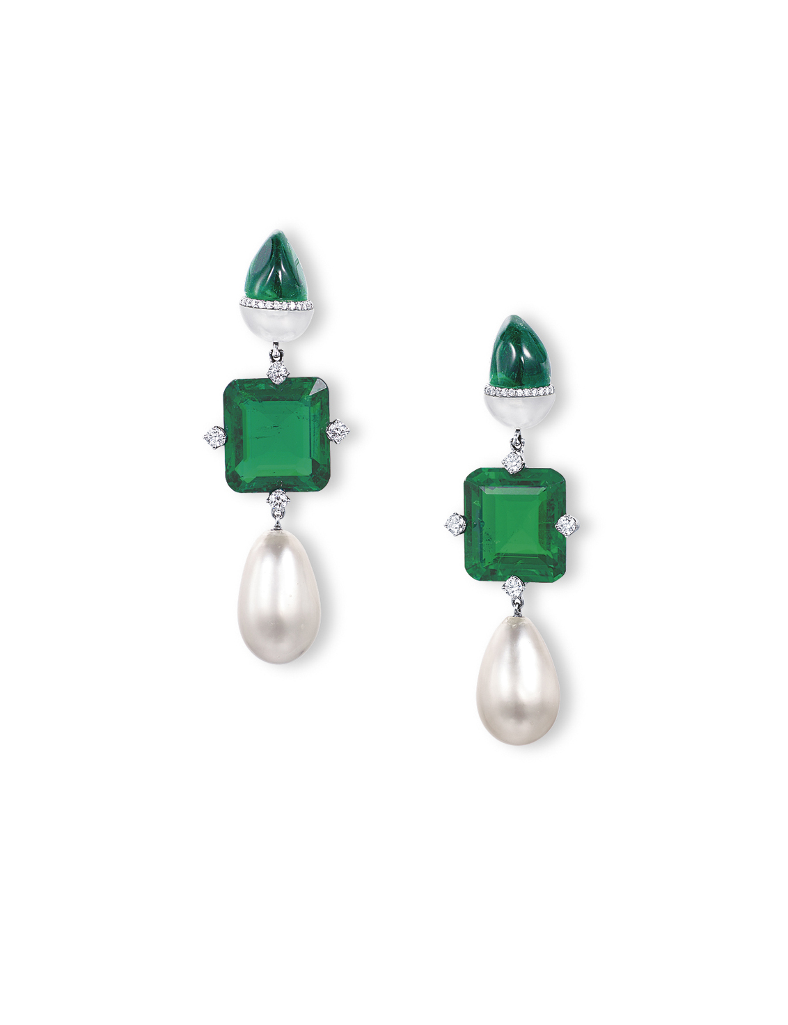 A PAIR OF UNUSUAL EMERALD, NATURAL PEARL AND DIAMOND EAR PENDANTS, BY ETCETERA