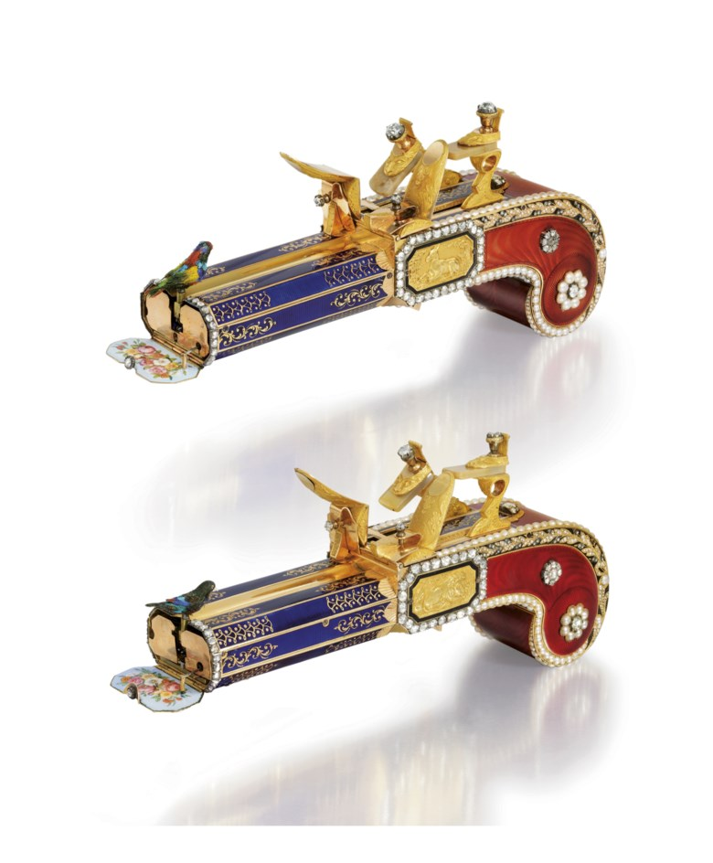 Attributed to Frères Rochat. The only publicly known matching pair of mirror-image gold, enamel, agate, pearl and diamond-set singing bird pistols, made for the Chinese market, circa 1820. Sold for HK$45,460,000 on 30 May 2011 at Christie's in Hong Kong, HKCEC Grand Hall