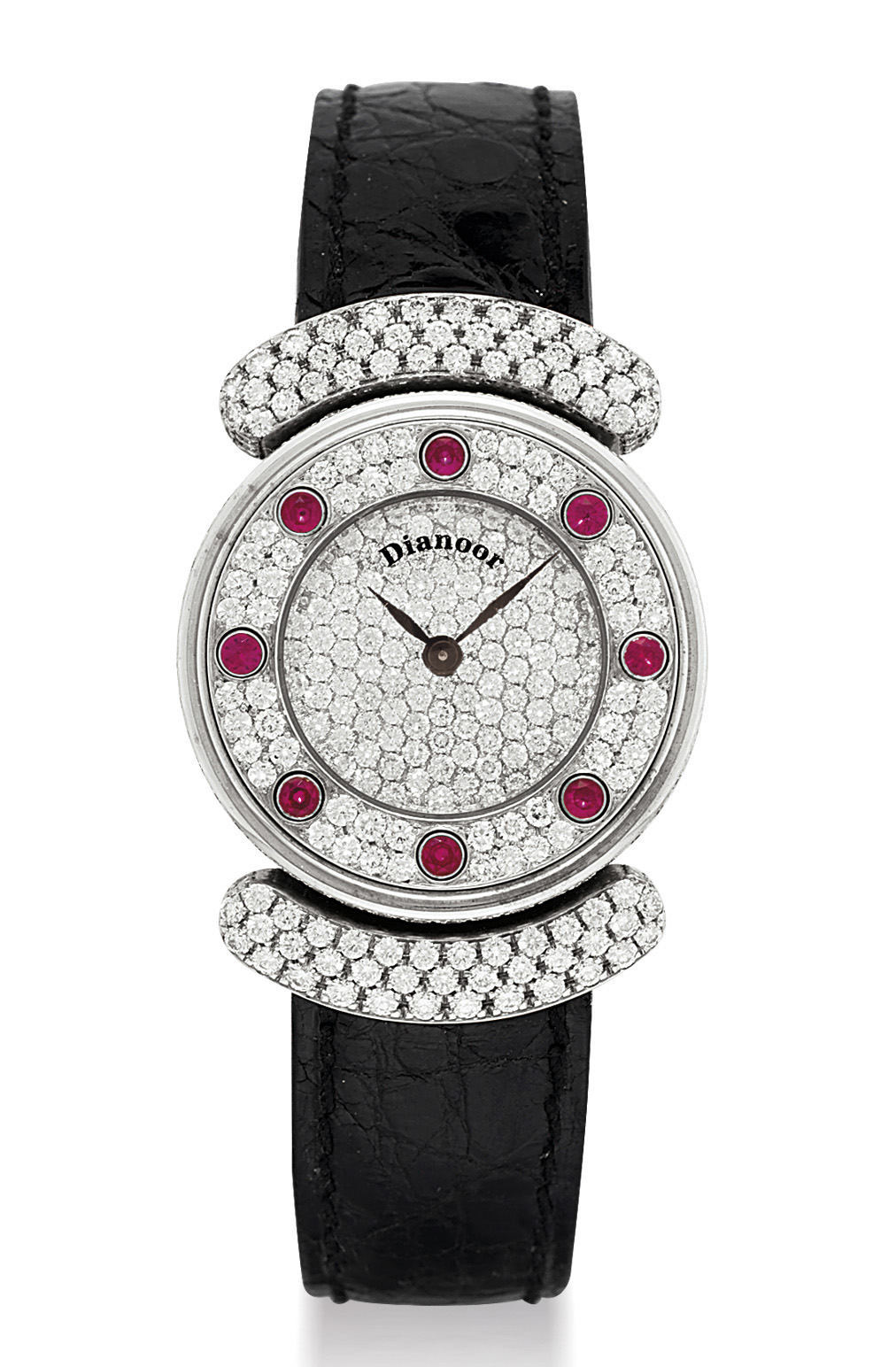 DIANOOR. A LADY'S 18K WHITE GOLD, DIAMOND AND RUBY-SET WRISTWATCH