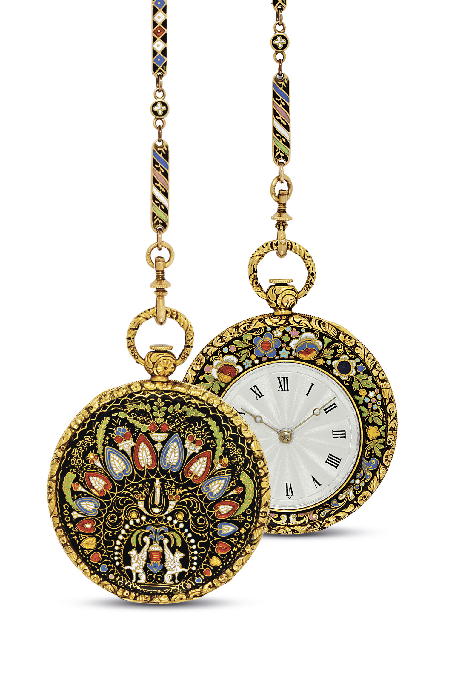 FRENCH. A GOLD AND ENAMEL OPENFACE CYLINDER WATCH WITH MATCHING CHAIN