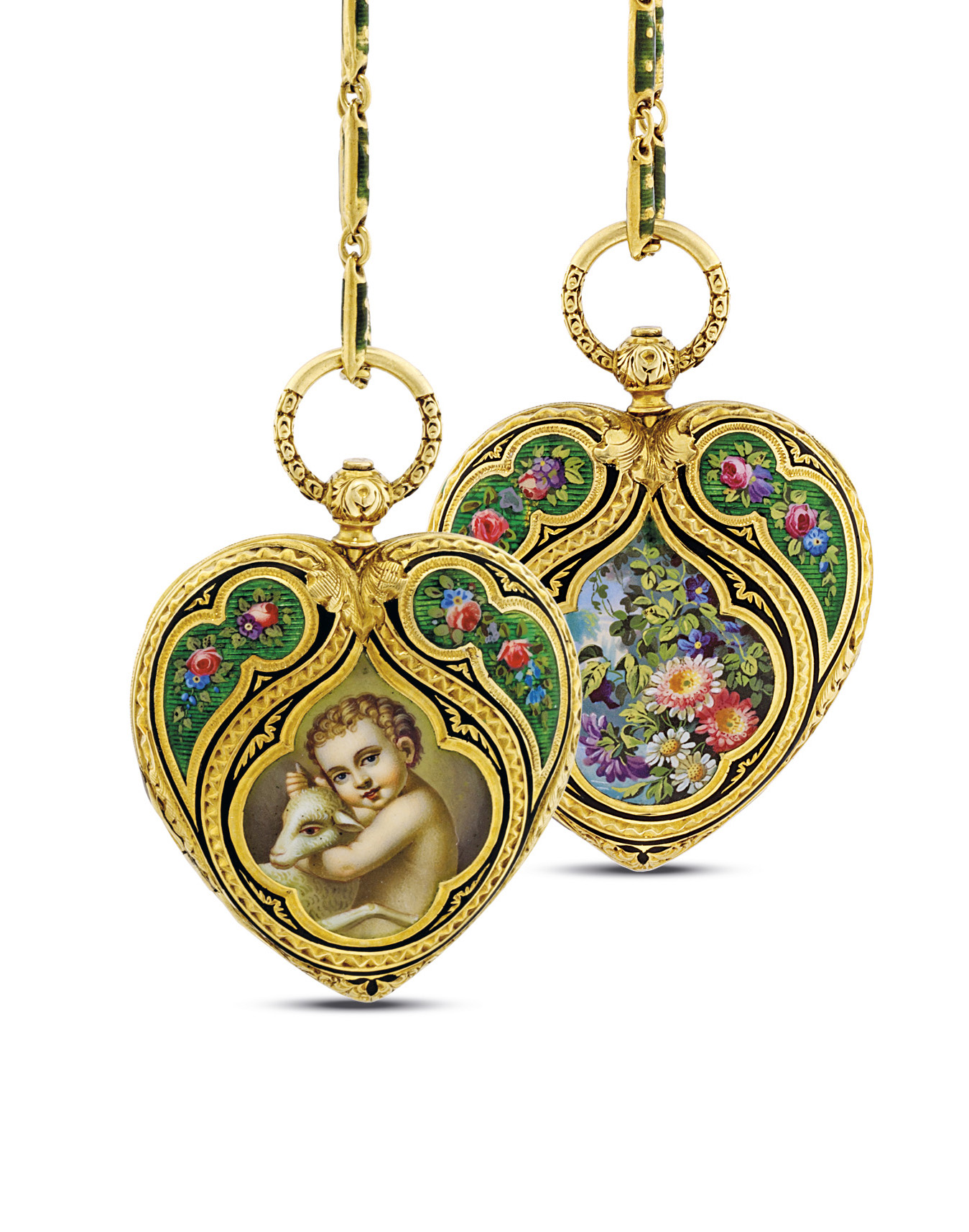 GOLAY. A RARE GOLD AND ENAMEL HEART-SHAPED PENDANT WATCH WITH MATCHING CHAIN AND KEY SIGNED GOLAY DERESCHE, GENEVE, NO. 4647, CIRCA 1820