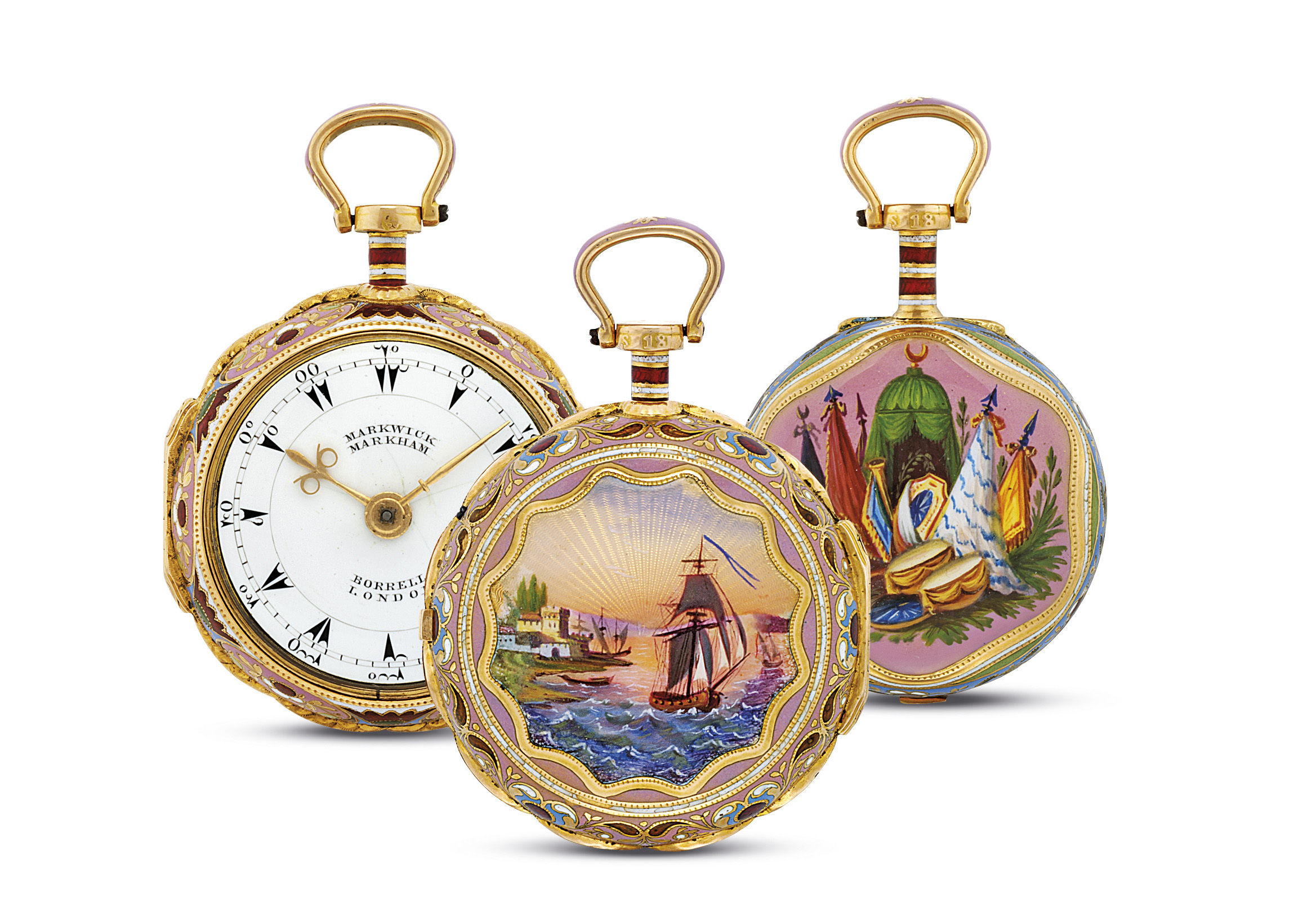 MARKWICK MARKHAM. A RARE 18K GOLD AND ENAMEL PAIR CASE VERGE WATCH, MADE FOR THE TURKISH MARKET