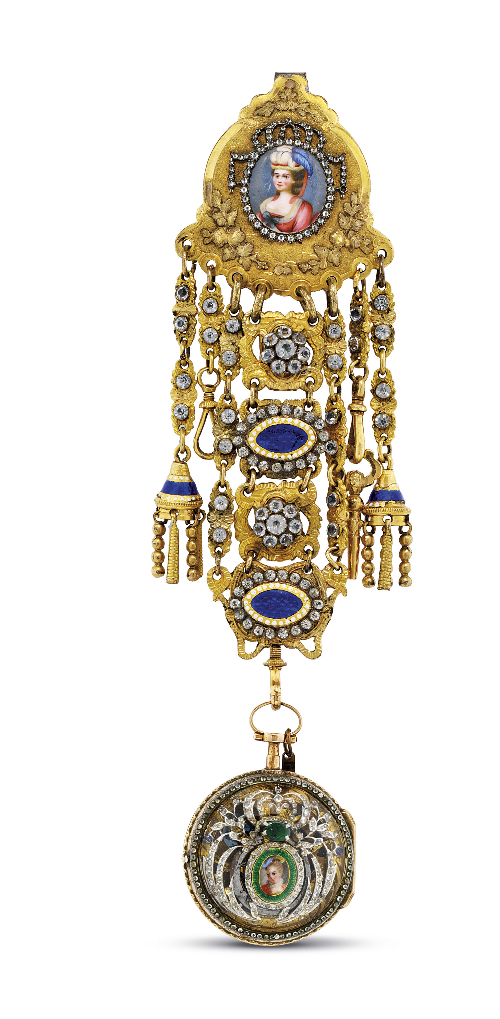 SWISS. A GOLD, ENAMEL AND PASTE-SET SKELETONIZED VERGE PENDANT WATCH WITH CORRESPONDING CHATELAINE AND KEY