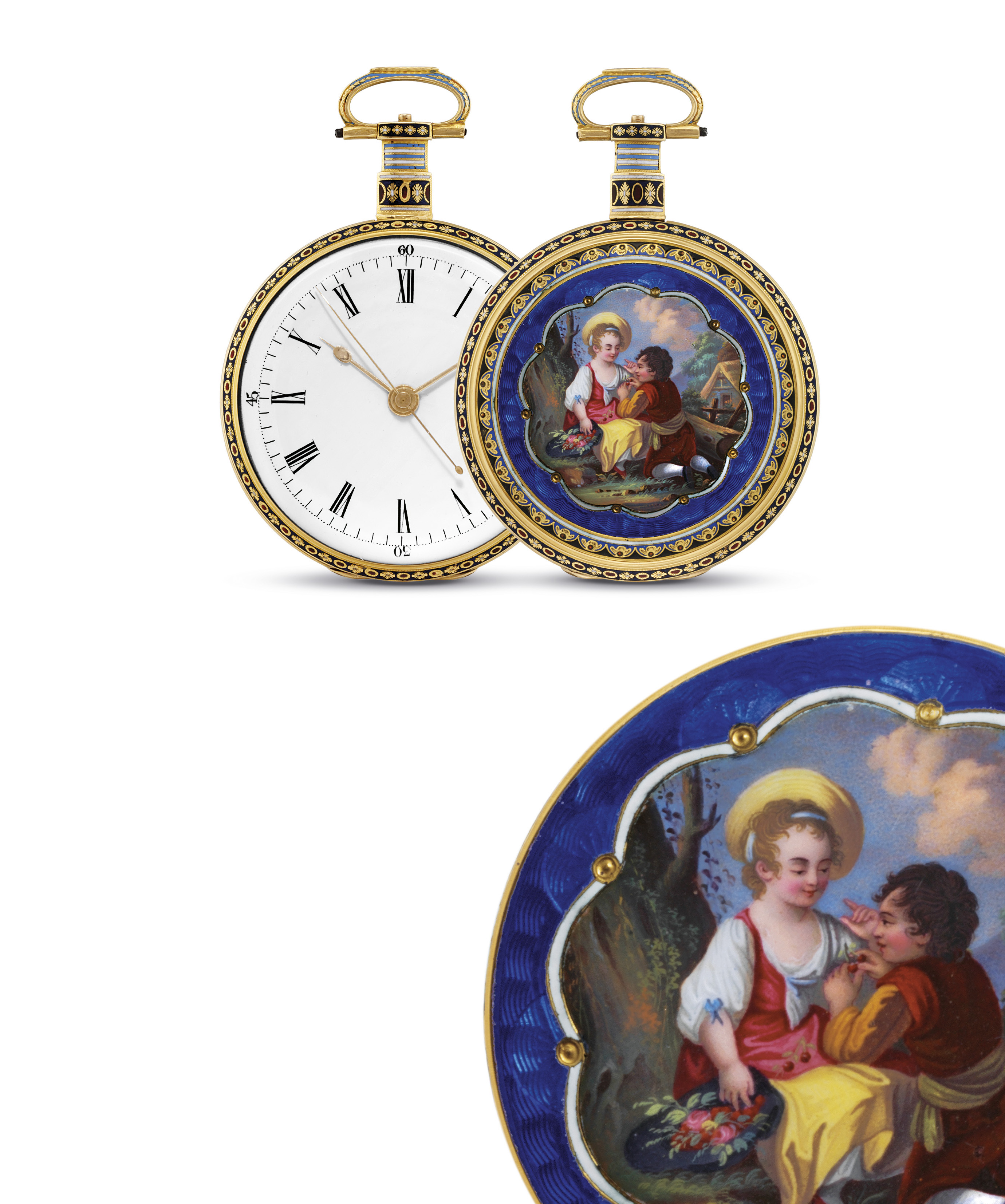 ILBERY. A FINE AND RARE GOLD AND ENAMEL OPENFACE CENTRE SECONDS DUPLEX WATCH, MADE FOR THE CHINESE MARKET