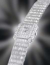 VACHERON CONSTANTIN. A SPECTACULAR AND IMPRESSIVE 18K WHITE GOLD AND DIAMOND-SET RECTANGULAR WRISTWATCH WITH BRACELET