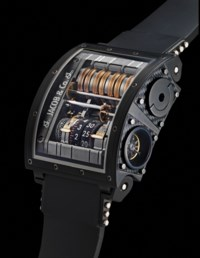 JACOB & CO. AN EXCEPTIONAL AND UNIQUE OVERSIZED BLACK COATED 18K WHITE GOLD VERTICAL TOURBILLON WRISTWATCH WITH 31 DAYS POWER RESERVE INDICATION