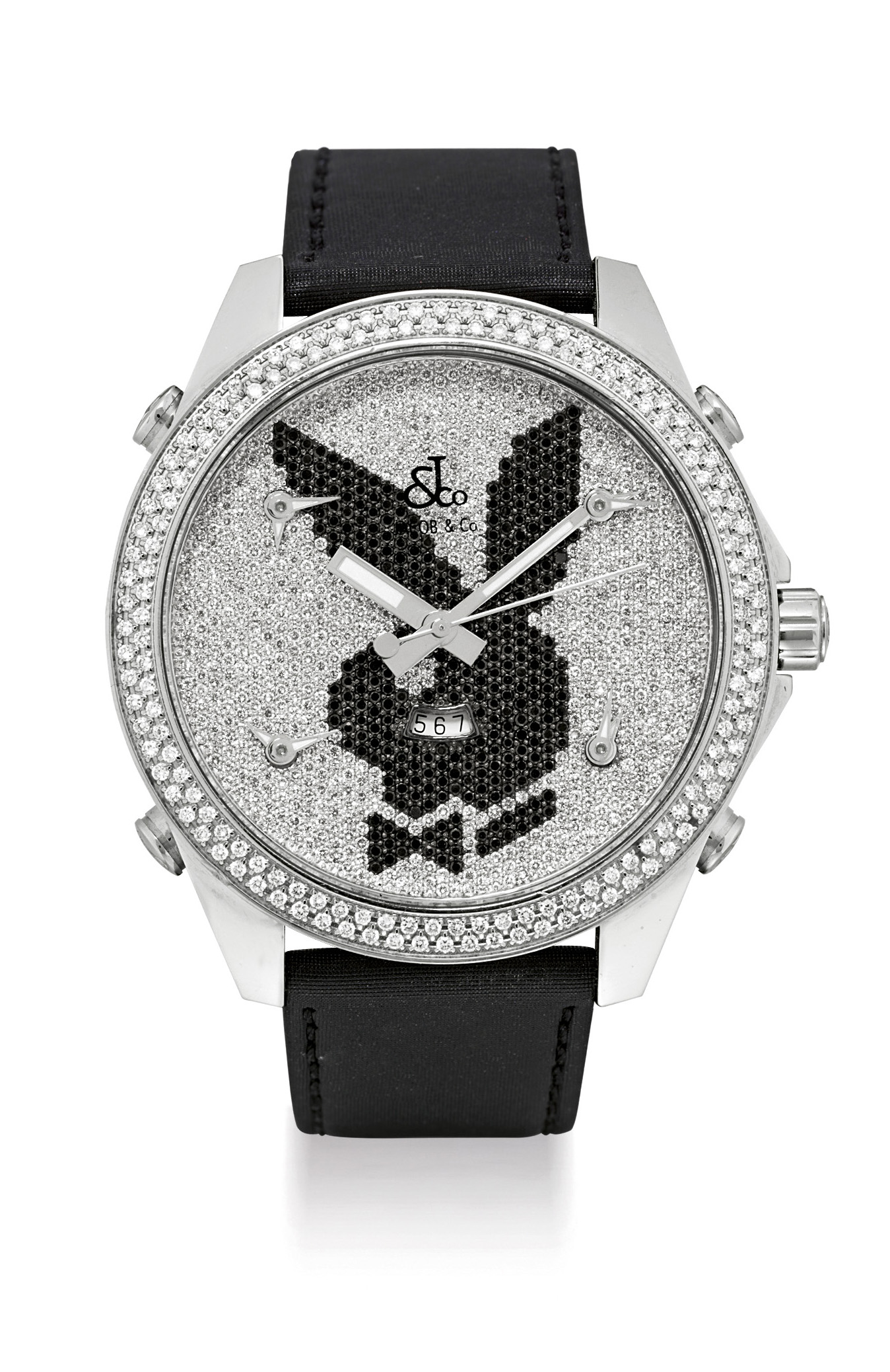 JACOB & CO. A STAINLESS STEEL, DIAMOND AND BLACK DIAMOND-SET FIVE TIME ZONE WRISTWATCH WITH SWEEP CENTRE SECONDS AND DATE