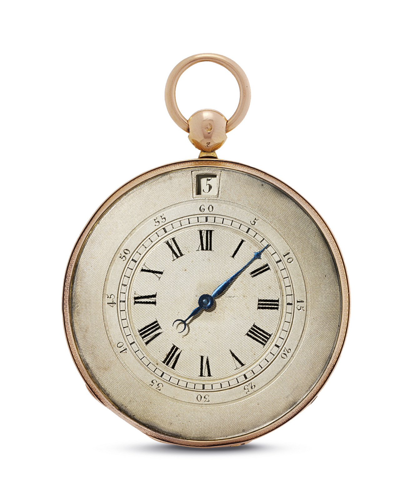 ANON. A GOLD OPENFACE JUMP HOUR CYLINDER WATCH