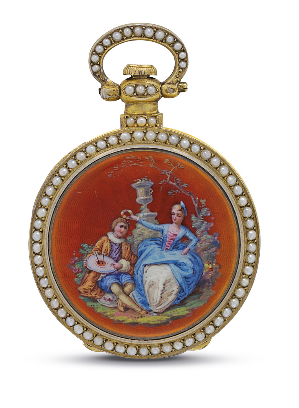 GUINAND. A SILVER GILT, ENAMEL AND PEARL-SET OPENFACE KEYWOUND CYLINDER WATCH WITH CENTRE SECONDS, MADE FOR THE CHINESE MARKET