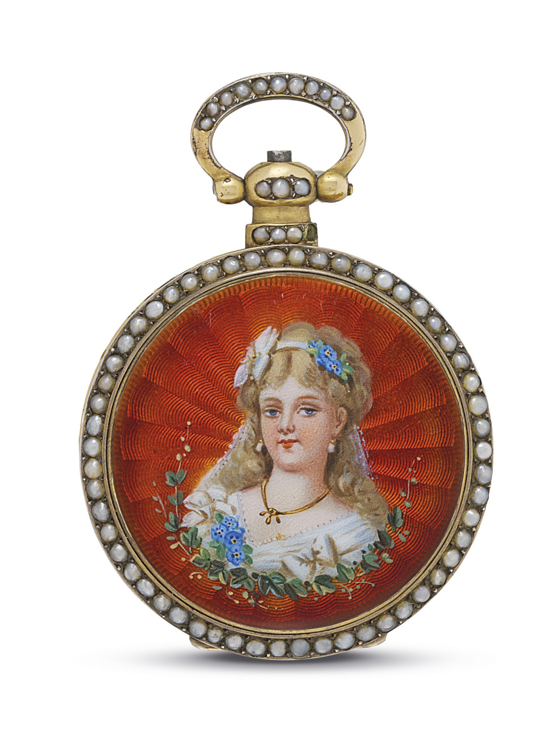 GUINAND. A SILVER GILT, ENAMEL AND PEARL-SET LEVER WATCH WITH CENTRE SECONDS, MADE FOR THE CHINESE MARKET