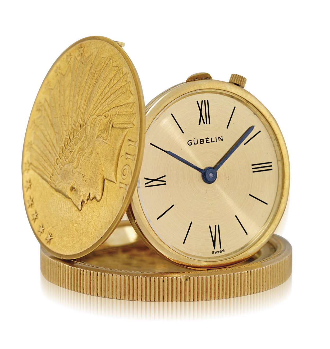 GUBELIN. AN 18K GOLD TEN DOLLAR COIN WATCH