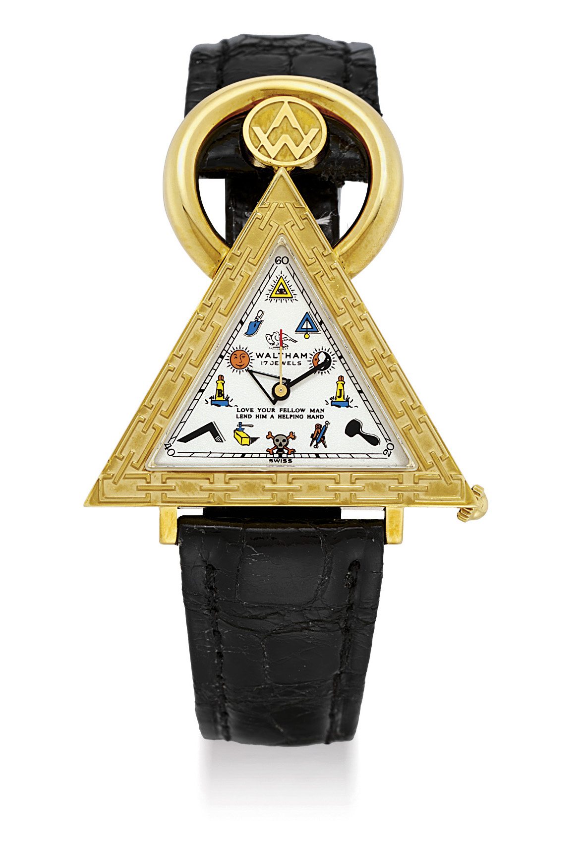 WALTHAM. AN 18K GOLD TRIANGULAR MASONIC WRISTWATCH