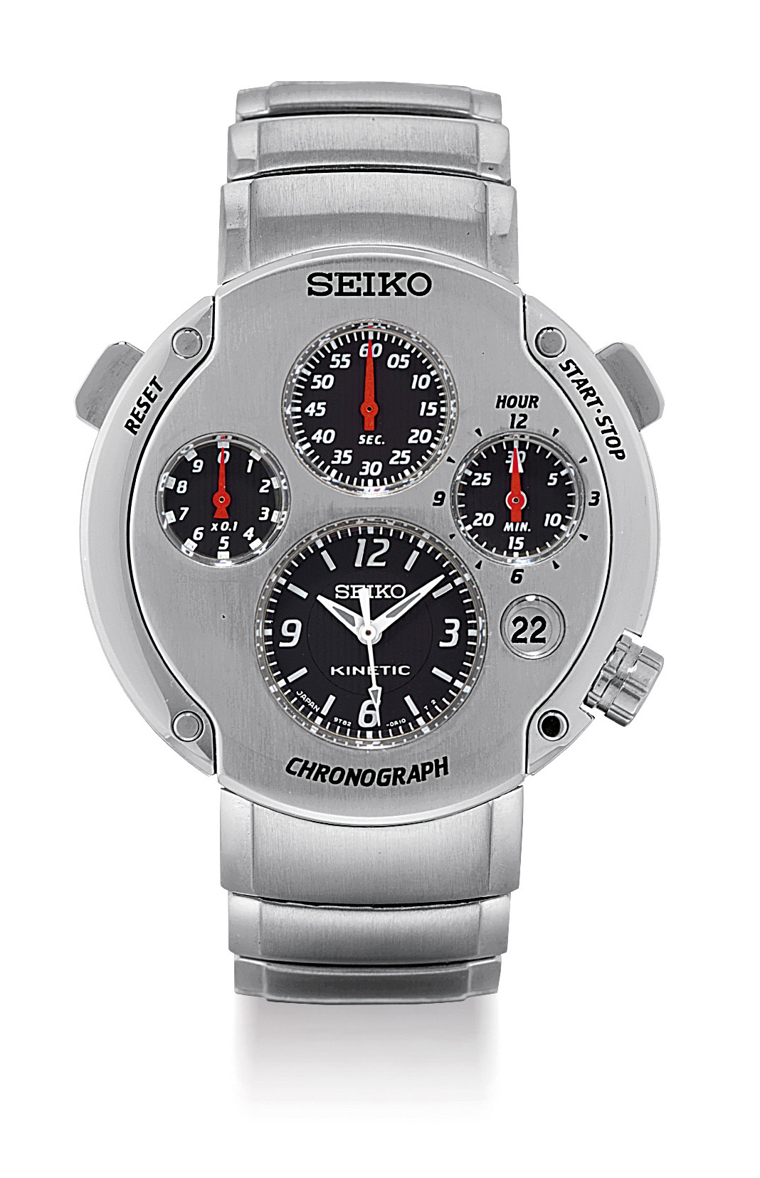 SEIKO. A STAINLESS STEEL LIMITED EDITION SELF-GENERATING QUARTZ CHRONOGRAPH WRISTWATCH WITH SWEEP CENTRE SECONDS, DATE AND BRACELET
