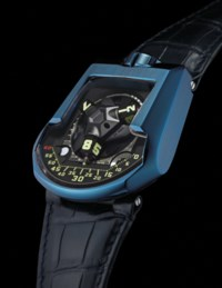 URWERK. A VERY RARE, LARGE AND UNUSUAL LIMITED SERIES DEEP BLUE PE-CVD COATED PLATINUM AUTOMATIC WRISTWATCH WITH 3-DIMENSIONAL SATELLITE HOUR DISPLAY, TELESCOPIC MINUTE HAND, TWIN TURBINE SYSTEM, MOON-PHASES AND DAY/NIGHT INDICATION