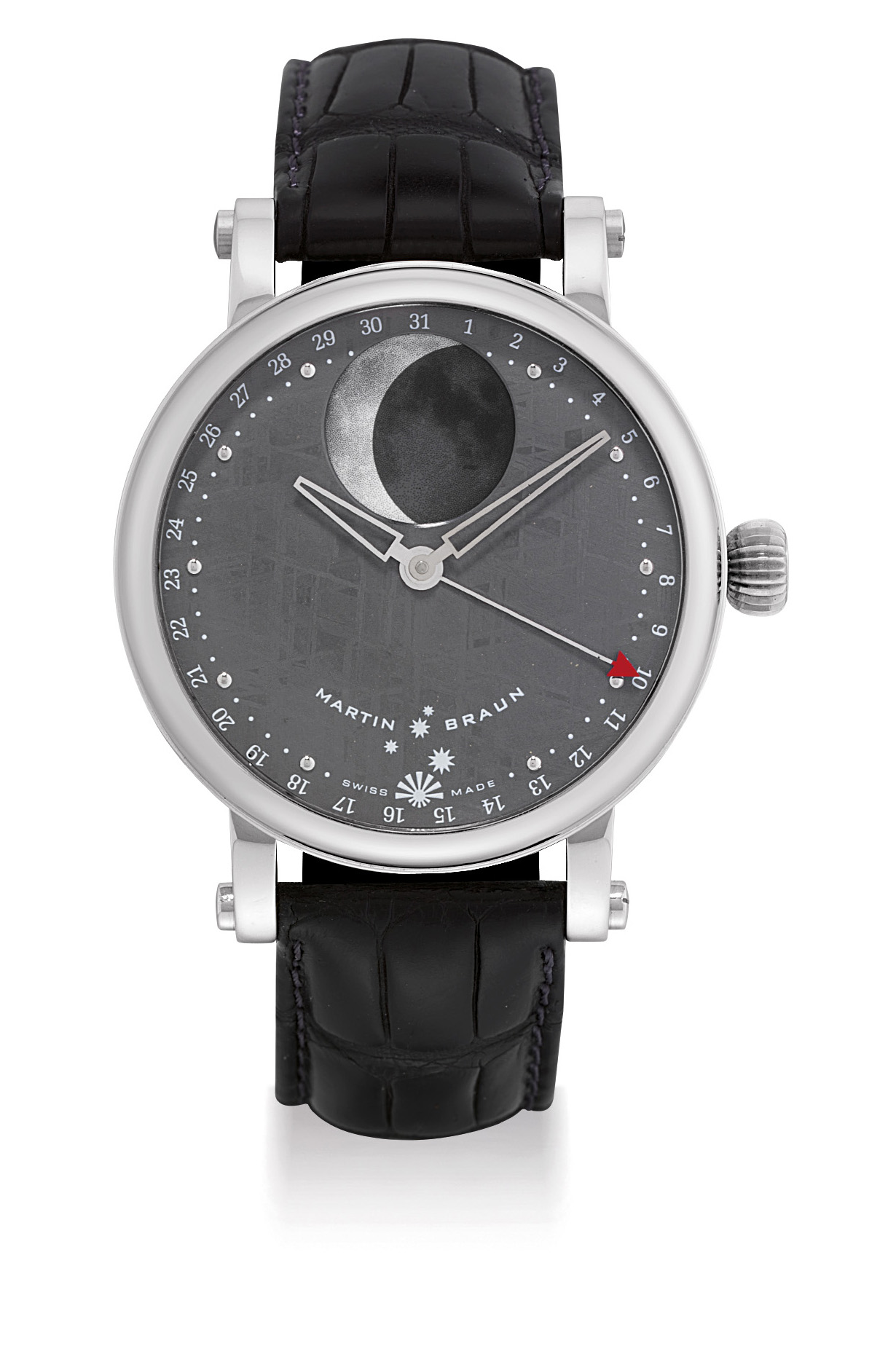 MARTIN BRAUN. AN UNUSUAL STAINLESS STEEL AUTOMATIC WRISTWATCH WITH MOON PHASES, DATE AND METEORITE DIAL