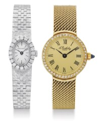 A.BARTHELAY. A LOT OF TWO LADY'S 18K GOLD OR WHITE GOLD AND DIAMOND-SET WRISTWATCHES
