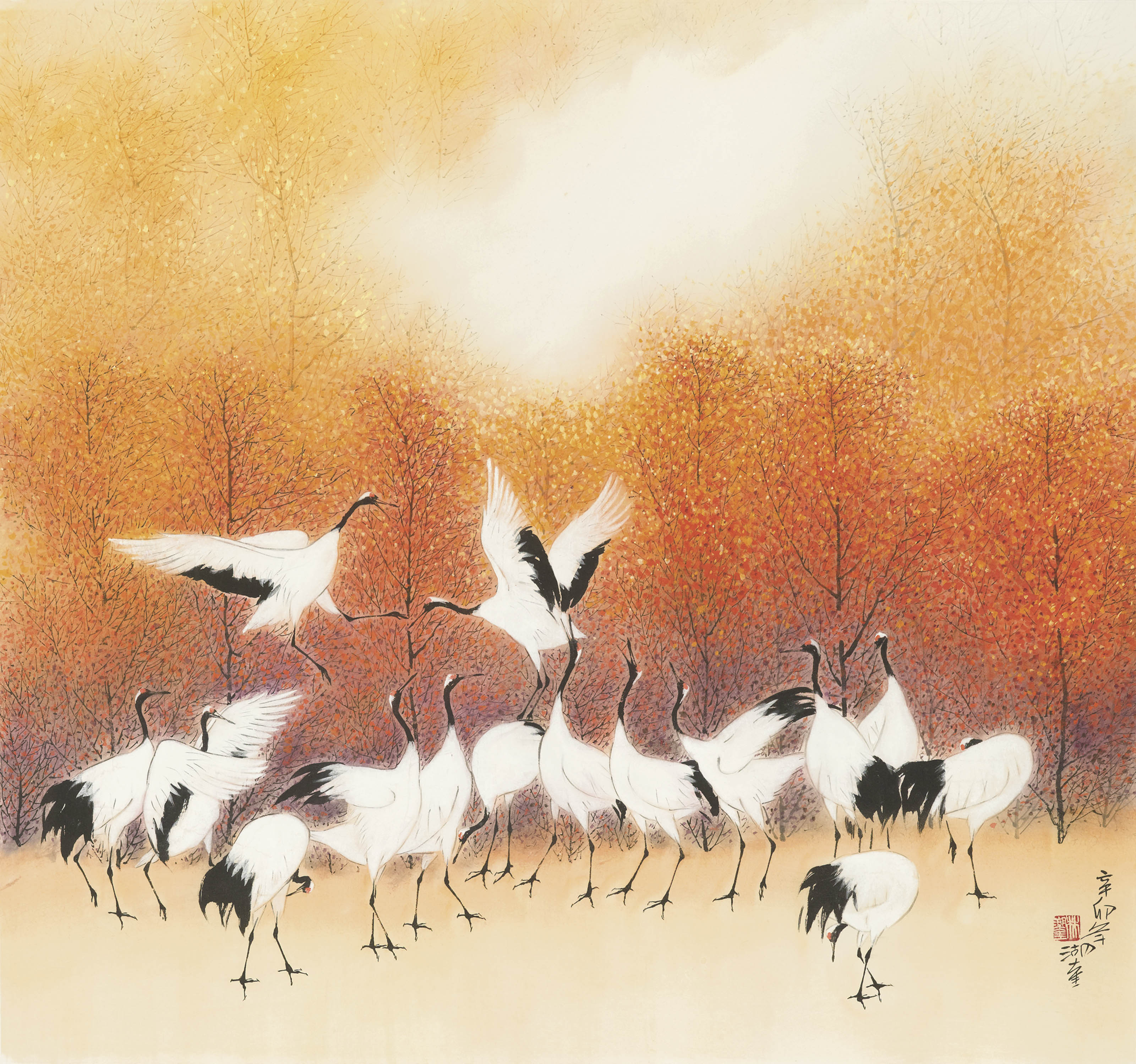 Cranes in an Autumn Forest