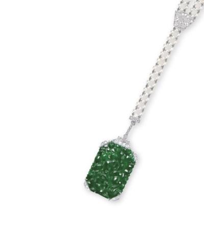 A JADEITE, PEARL AND DIAMOND N