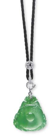 A JADEITE PENDENT NECKLACE
