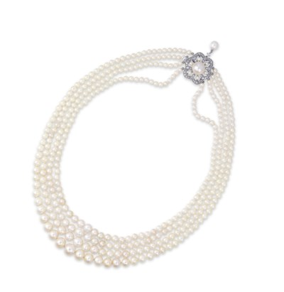 A FOUR-STRAND NATURAL PEARL, P