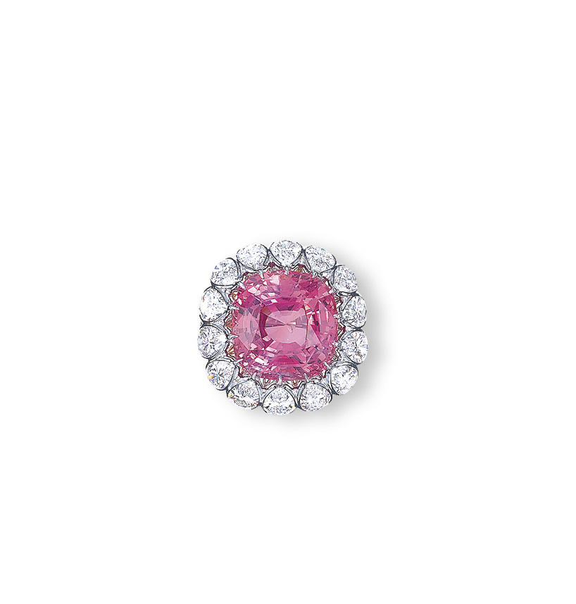 A PADPARADSCHA SAPPHIRE AND DIAMOND RING, BY ETCETERA