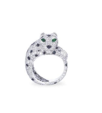 A DIAMOND, ONYX AND EMERALD 'P