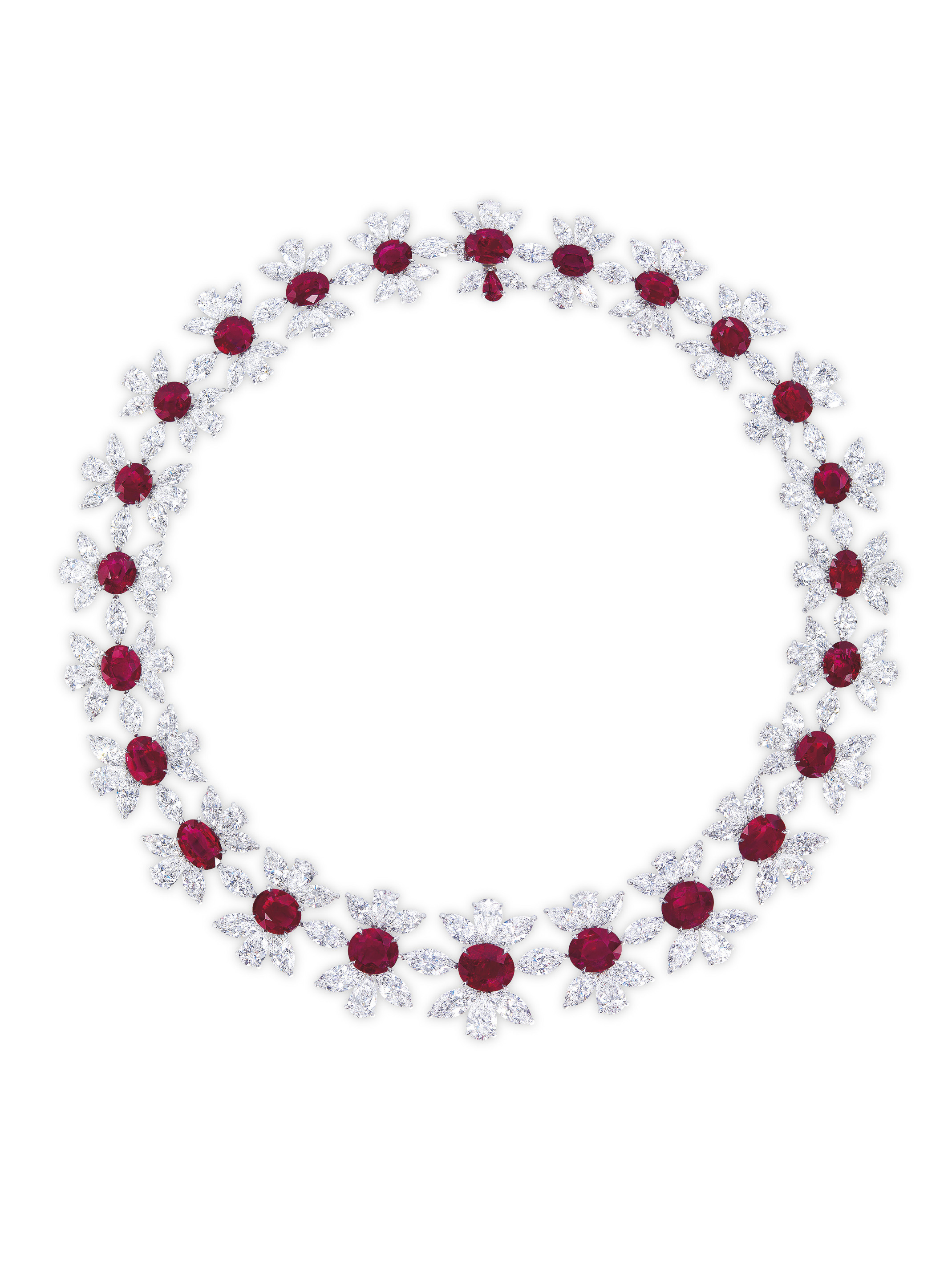 A RARE RUBY AND DIAMOND NECKLACE, BY J.W. CURRENS