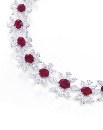 A RARE RUBY AND DIAMOND NECKLA