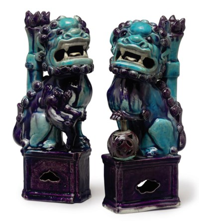 A PAIR OF TURQUOISE AND PURPLE